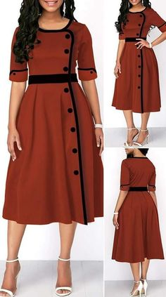 Button Front Half Sleeve High Waist Dress HOT SALES 2019 beautiful dresses pretty dresses holiday fashion dresses outfits dress cute dresses clothes c. Latest African Fashion Dresses, African Dresses For Women, Women's Fashion Dresses, Women's Dresses, Dress Outfits, Summer Dresses, Sleeveless Dresses, High Waist Dresses, Jersey Dresses