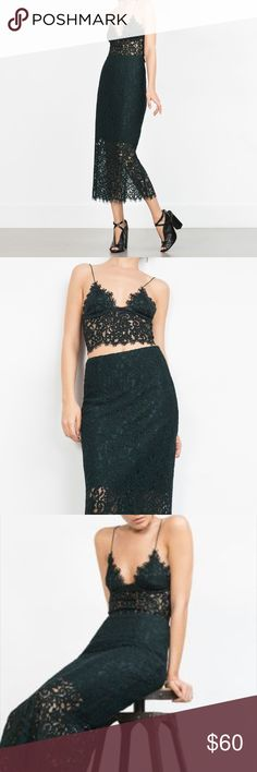 Zara outfit Worn once. Matching lace bustier top and skirt. Zara Dresses
