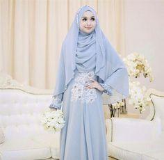 Islamic Blue Wedding Dress With Simple Details. Courtesy of Beautynesia Hijabi Wedding, Wedding Hijab Styles, Muslimah Wedding Dress, Hijab Style Dress, Muslim Wedding Dresses, Muslim Dress, Blue Wedding Dresses, Designer Wedding Dresses, Bridal Dresses