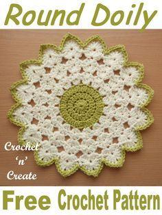 Crochet Round Doily Free Crochet Pattern - Crochet 'n' Create Crochet Circle Pattern, Crochet Placemat Patterns, Crochet Coaster Pattern, Crochet Circles, Crochet Flower Patterns, Crochet Motif, Knitting Patterns, Crochet Dishcloths, Quick Crochet