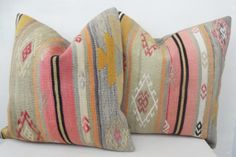 SET of 2 Kilim Pillow Throw Pillow Cover, Decorative Turkish Kilim Pillow, Throw Pillow, Pink Blue Accent Pillow 16 ' inch