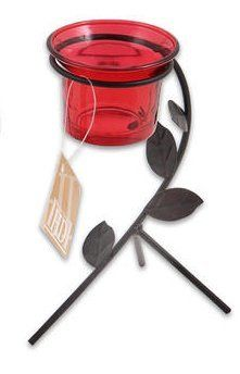 """Red 6"""" Metal with Glass Vase Tealight Candle Holder by HDII. $6.99"""