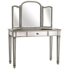 This mirrored vanity table pier one - hayworth bedroom set, pier bedroom : mirrored bedroom furniture pier one large painted wood wall mirrors brilliant and also lovely . image of: mirrored vanity set design. pier one hayworth Mirrored Furniture, Shabby Chic Furniture, Mirrored Desk, Glass Furniture, Handmade Furniture, My New Room, My Room, Vanity Set, Mirror Vanity