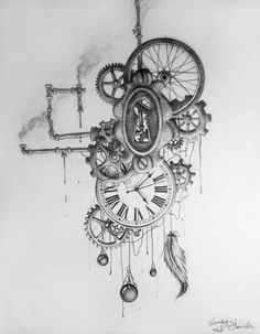 Steampunk art is often filled with clockwork elements, mostly depicted in yellow metals such as brass. Steampunk tattoos are very rare, and . Steampunk Drawing, Arte Steampunk, Steampunk Octopus, Steampunk Clock, Steampunk Watch, Gear Tattoo, 1 Tattoo, Tattoo Drawings, Body Art Tattoos