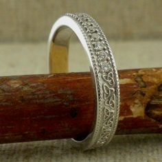 Vintage Style Trinity Knot Wedding Ring with Diamonds — Unique Celtic Wedding Rings - İrische Eheringe Irish Wedding Rings, Stacked Wedding Rings, Wedding Rings For Women, Wedding Ring Bands, Wedding Jewelry, Wedding Ring Designs, Wedding Ideas, Wedding Pictures, Wedding Planning