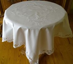 Polish White Tablecloth Hand Embroidered Flowers/Handmade Lace Tablecloth / Beautiful Cottage Home Tablecloth/Vintage Square Tablecloth