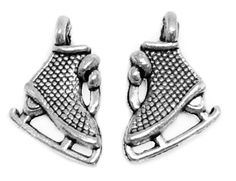 Charms : 10 Antique Silver 3D Ice Skate Charms   Winter Skate Pendants