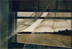 """""""Wind From the Sea,"""" 1947. Andrew Wyeth (1917- 2009) gave America a prim and flinty view of Puritan rectitude, starchily sentimental, through parched gray and brown pictures of spooky frame houses, desiccated fields, deserted beaches, circling buzzards and craggy-faced New Englanders."""