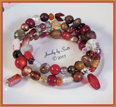 Red Glass Wood Gemstone Crystal Metal Memory by JewelryByScotti, $18.00