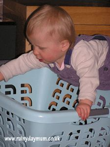 Laundry Basket Play: A simple way to allow your infant to explore the ways in which they can make their body move is to have them play with a laundry basket. As your infant climbs in and out of the basket and pushes and pulls the basket, they will be learning problem solving skills and will be strenghthening their gross motor skills.