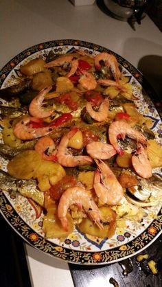 Dorade vis uit de oven met garnalen...