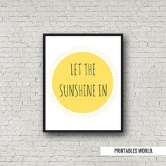 Let the sunshine in Printable Poster Instant by PrintablesWorld Modern Artwork, Nursery Decor, Sunshine, Typography, Printables, Let It Be, Poster, Etsy, Inspiration