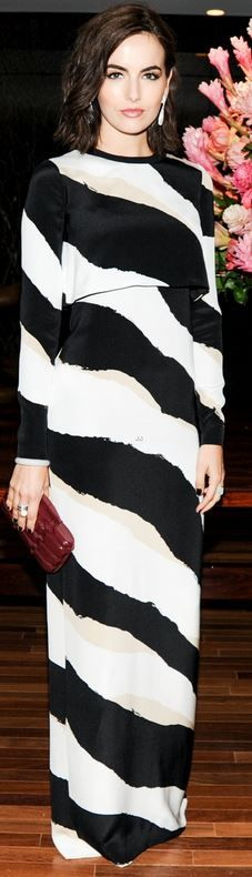 Who made  Camilla Belle's black and white zebra print gown and dark red clutch handbag that she wore in Sao Paulo on May 27, 2014?