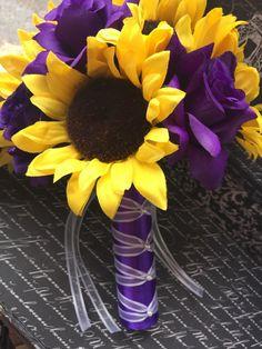 Silk Sunflower & Purple Rose Wedding Bouquet