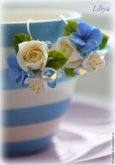"""Серьги с цветами """"Солнечное утро"""" - бирюзовый,серьги с цветами,цветы в украшении"""