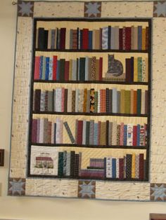 bookcase+quilt+pattern+free Read All About Them: Bookshelf Quilts Quilting Tips, Quilting Tutorials, Quilting Projects, Quilting Designs, Cat Quilt, Book Quilt, Patchwork Patterns, Quilt Patterns Free, Free Pattern