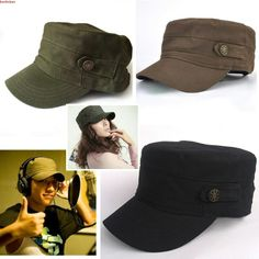 Unisex Adjustable Classic Cool Army Cadet Military Flat Top Hat Cap Black New #Other #Military