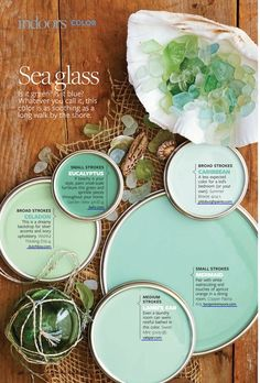 "The blue and green variations on the colour ""sea glass."""