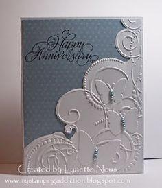 Addicted to stamping Lynette: cut along embossed edge. Darice folder butterflies in corner