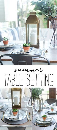 Summer Table Setting in Gray, White, Gold - It All Started With Paint Porch Table, Coffee Filter Wreath, Paint Dipping, Led Diy, Gold Table, Grey Walls, Home Decor Inspiration, Table Settings, White Gold