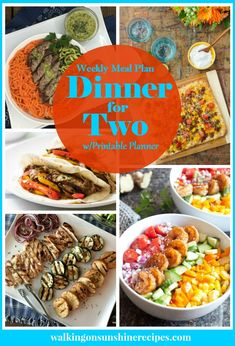 Dinner for Two easy recipes are featured as part of our Weekly Meal Plan with printable menus available for you to plan dinner this week! Healthy Recipes On A Budget, Cooking On A Budget, Budget Meals, Easy Dinner Recipes, Cooking Recipes, Healthy Meals, Cheap Recipes, Easy Recipes, Kid Meals