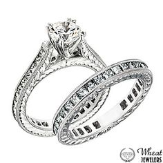Vintage Style Diamond Engagement Ring and Matching Wedding Band available at Wheat Jewelers