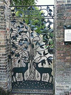 Gate lends a natural open and inviting look to a fence. Metal Gates, Wrought Iron Gates, Front Gates, Entrance Gates, Garden Doors, Garden Gates, Deer Garden, Metal Garden Art, Metal Art