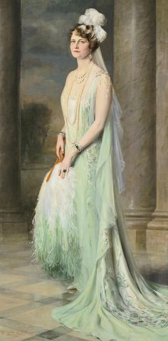 Marjorie Post wore this Callot Soeurs gown when presented to King George V and Queen Mary in June of 1929. Portrait by Giulio de Blaas.
