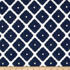 This versatile heavyweight jacquard fabric is perfect for some window treatments, toss pillows, slipcovers, upholstery and other home decor accents. Colors include navy and white. This fabric has 100,000 double rubs.