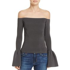 Elizabeth and James Letya Off-the-Shoulder Top - 100% Exclusive featuring polyvore women's fashion clothing tops black bell sleeve tops flared sleeve top elizabeth and james top off the shoulder bell sleeve top off shoulder tops