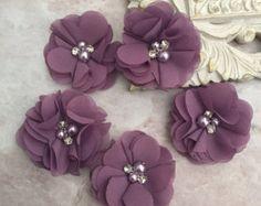 Chiffon flowers pearl and rhinestone flowers by BlingBasement