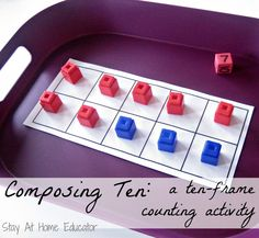 Composing Ten - a ten-frame counting activity for preschoolers through early elementary - Stay At Home Educator