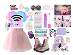 """""""Pastel goth"""" by anais-mcdonald on Polyvore featuring Casetify, Chicwish, Dr. Martens, Sugarpill, Lime Crime, Burberry and shu uemura"""