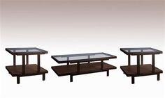 Beasley Contemporary Antique Bronze Wood Glass Coffee Table Set