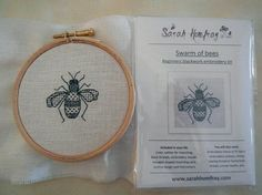 Swarm of bees - Blackwork Bee embroidery kit