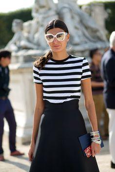 Giovanna Battaglia | Short-sleeved shirt tucked into an A-line skirt | C'est Chic: Style from Paris