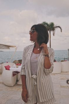 Costume femme rayé - short et blazer - Milovely Blog