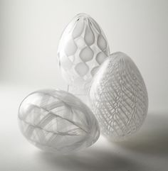 """White Cane Eggs"" by Paul Lockwood  Art Glass Sculpture....zanfirico lacing."