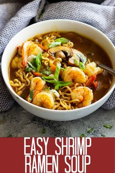 Easy Shrimp Ramen Soup is so much better than that packet of noodles! Packed with vegetables, shrimp, and full of flavor!This Easy Shrimp Ramen Soup is so much better than that packet of noodles! Packed with vegetables, shrimp, and full of flavor! Ramen Noodle Recipes, Soup Recipes, Vegetarian Recipes, Healthy Recipes, Ramen Noodle Soup, Easy Ramen Recipes, Lunch Recipes, Vegetarian Tamales, Ramen Broth