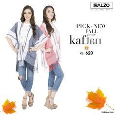 2016 Fall Fashion with Iralzo Kaftan  Wrap in with our yarn dyed Kaftan for being upscale and style with crop top or with denims for a cool look. Available in two exotic colors.