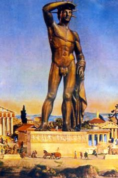 ANCIENT:Colossus of Rhodes, 290 BC, a huge bronze statue, comparable in size to the Statue of Liberty, built on the Island of Rhodes to commemorate a military victory, toppled by an earthquake, its ruins were a major tourist attraction for nearly 900 years