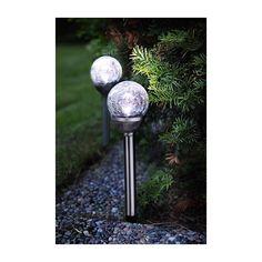 Solcellslampa Knut, stigbelysning krossad glaskula 0.065W