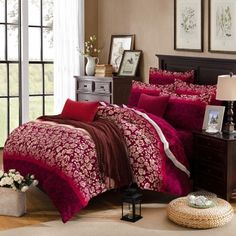 Maroon and Beige Vintage Rose Flower Print Shabby Chic Exotic Warm Color Unusual 100% Brushed Cotton Full, Queen Size Bedding Sets