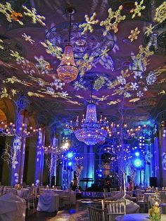 Wonderland setup with a snowflakes #gobo #monogram at this winter wedding #uplighting #rentmywedding  An amazing transformation with light!