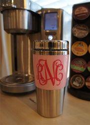 Super cute, monogrammed travel coffee mug!