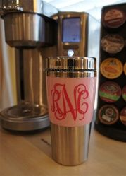 Super cute, monogrammed travel coffee mug!