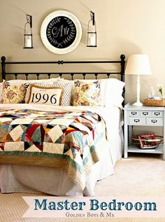 bedroom with pottery barn quilt chalkboard monogram hanging lanterns