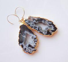 Geode Earrings, Raw Rock Druzy Earrings  www.etsy.com/shop/443Jewelry