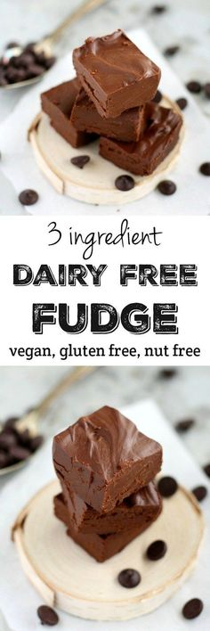 You won't believe how rich, creamy, and delicious this dairy free fudge is! And it's made with just THREE ingredients! This is a perfect no-bake holiday treat.(Vegan No Baking Cookies) Gluten Free Desserts, Dairy Free Recipes, Healthy Desserts, Easy Desserts, No Bake Desserts, Keto Recipes, Healthy Recipes, Vegan Treats, Vegan Foods