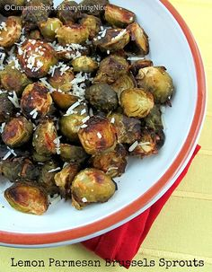 Lemon Parmesan Roasted Brussels Sprouts. My bf loves Brussels sprouts, I'd like to try this recipe.